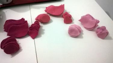 As três tonalidades de rosa escolhidas.